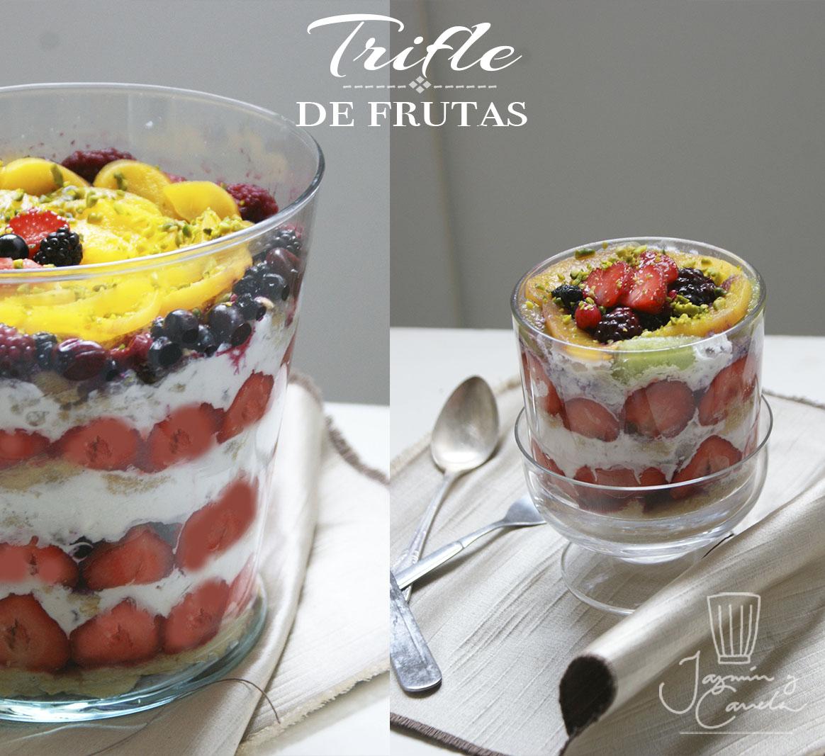 Trifle de fresas, kiwi y melocotón