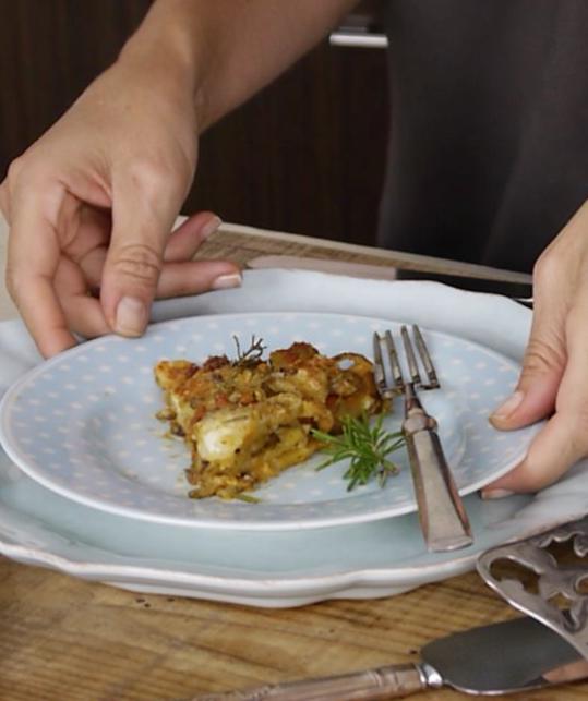 Crujiente de Patatas al horno con Sobrasada y queso
