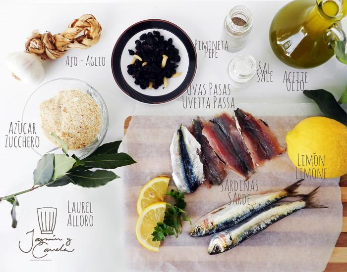 ingredientes SARDINAS RELLENAS A LA PALERMITANA – Le Sarde a Beccafico alla Palermitana (ricetta di Silvana Corso)
