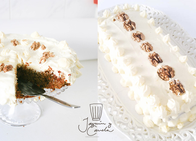 carrot cake Pastel de zanahoria 2, con Frosting de queso, chees