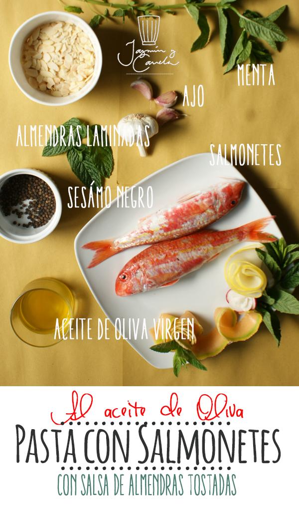 Pasta Reginette o mafaldine con salmonetes,  Con salsa de almendras tostadas al aceite de oliva