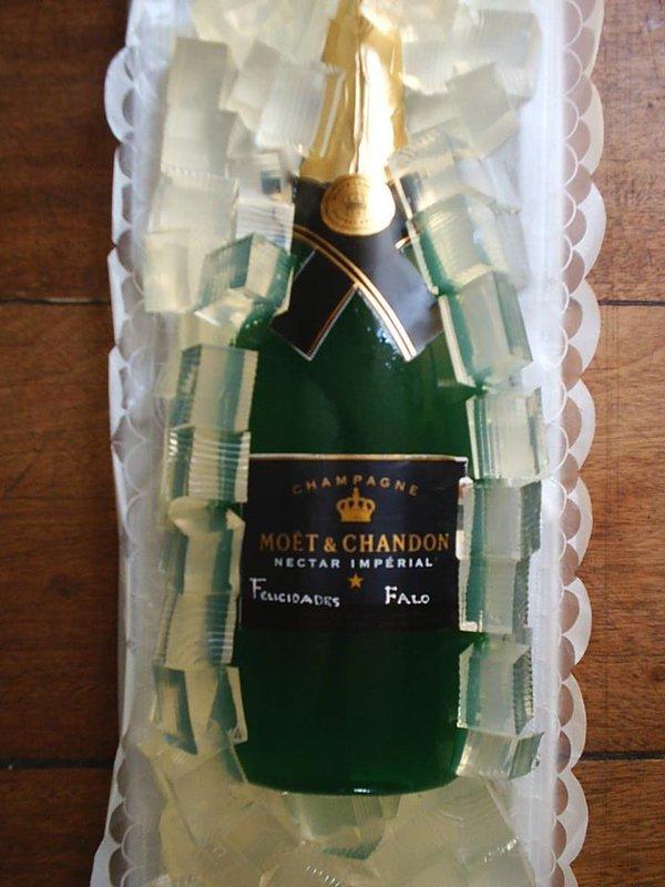 arte de gelatina botella de champagne
